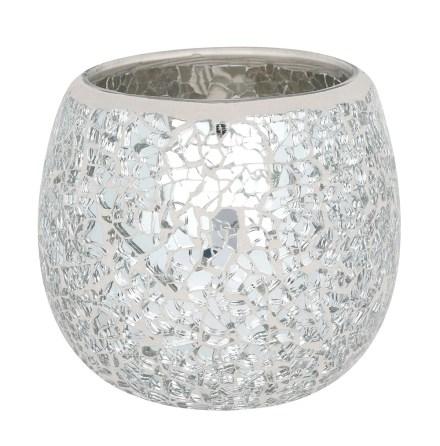 Ljuslykta Silver Krackelerad yta Stor