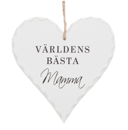 """Hjärtformad trä skylt med texten """"Världens bästa Mamma"""""""