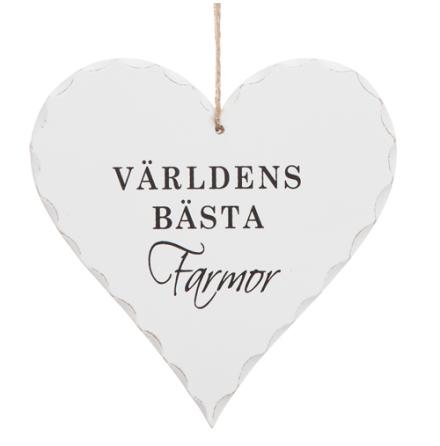"""Hjärtformad trä skylt med texten """"Världens bästa Farmor"""""""