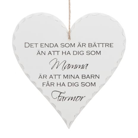 Hjärtformad skylt för att hylla din mamma, Mamma Farmor tavla
