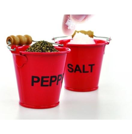 Salt och peppar kvarn i form av en hink