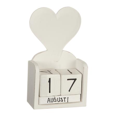 """Kalender i trä """"hjärta"""""""