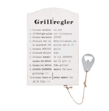 """Tavla i trä """"Grillregler"""" med öppnare"""