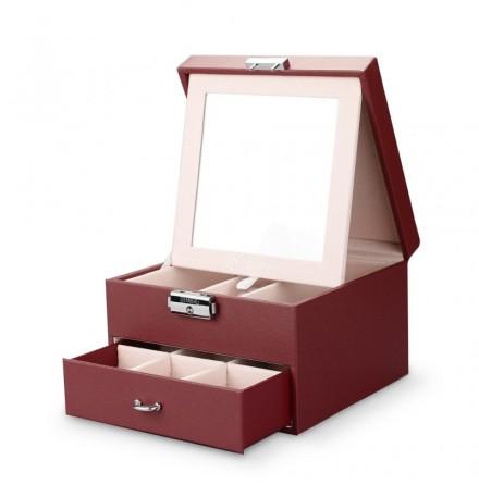 Röd Smyckeslåda/Juvelbox med spegel