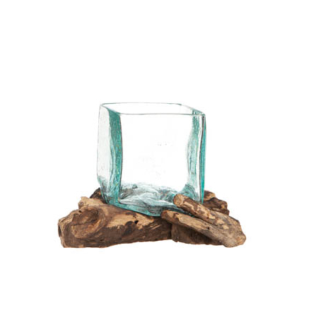 Glasskål fyrkant på trädrot